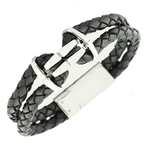 Stainless Steel Black Leather Silver-Tone Braided Men's Bracelet