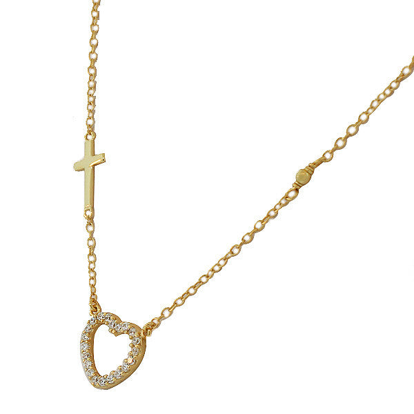 Gold Cross Cutout Heart Necklace Pendant Sterling Silver Cubic Zirconia