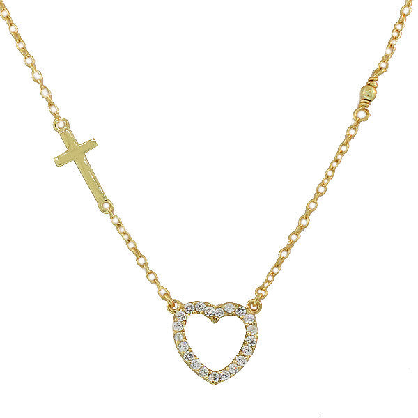 925 Sterling Silver Gold-Tone Love Heart Cross Charm Pendant Necklace