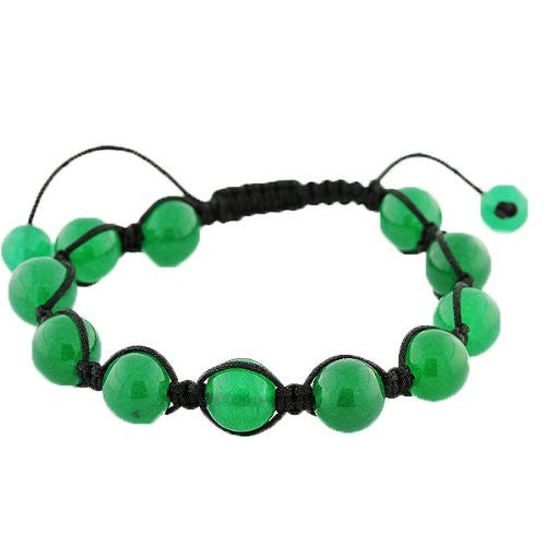 Green Ball Beaded Adjustable Black Cord Macrame Bracelet