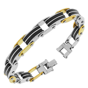 Stainless Steel Multi-Tone Men's Link Bracelet