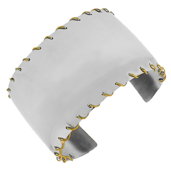 Stainless Steel Two-Tone Stitching Open End Wide Cuff Bangle Bracelet