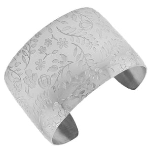 Stainless Steel Silver-Tone Flowers Floral Design Open End Wide Cuff Bangle Bracelet