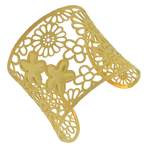 Stainless Steel Yellow Gold-Tone Flowers Floral Design Glitter Open End Wide Cuff Bangle Bracelet