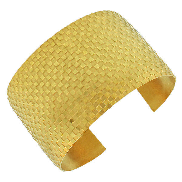 Stainless Steel Yellow Gold-Tone Open End Wide Square Pattern Design Cuff Bangle Bracelet