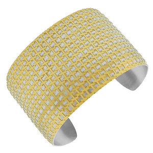 Stainless Steel Two-Tone Open End Wide Cuff Bangle Bracelet