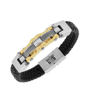Stainless Steel Black Braided Leather Two-Tone Men's Bracelet
