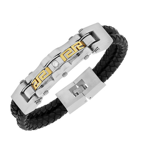 Stainless Steel Black Leather Two-Tone White CZ Greek Key Men's Bracelet