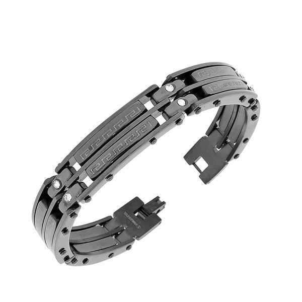 Stainless Steel Black Greek Key White CZ Link Men's Bracelet