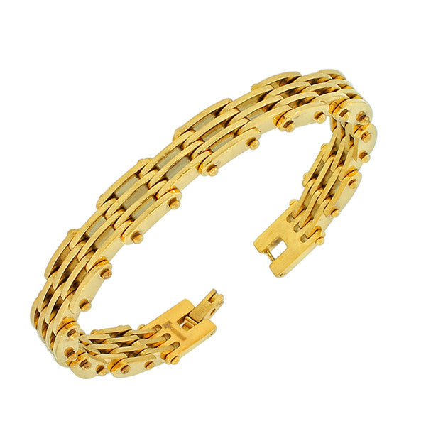 Stainless Steel Yellow Gold-Tone Link Chain Men's Bracelet
