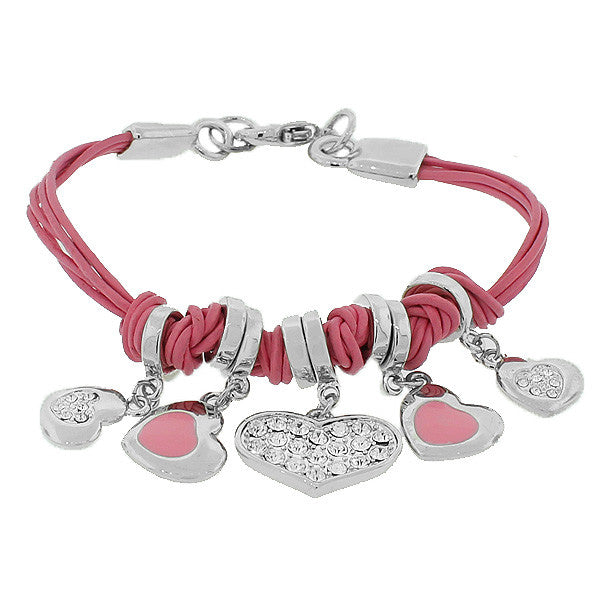 Fashion Alloy Silver-Tone Pink Love Hearts Charms White CZ Bracelet
