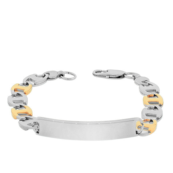 Stainless Steel Yellow Gold Silver Two-Tone Link Chain Men's Bracelet