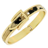 Fashion Alloy Yellow Gold-Tone Leopard Belt Buckle Bangle Bracelet