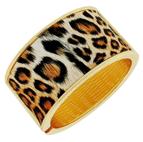 Fashion Alloy Yellow Gold-Tone Orange Brown Leopard Large Wide Cuff Bangle Bracelet