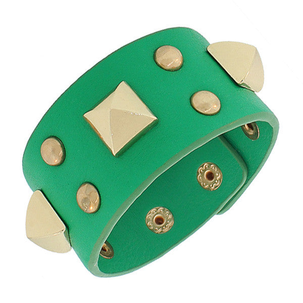 Fashion Alloy Green Faux PU Leather Rose Gold-Tone Spikes Wide Wristband Wrap Bracelet