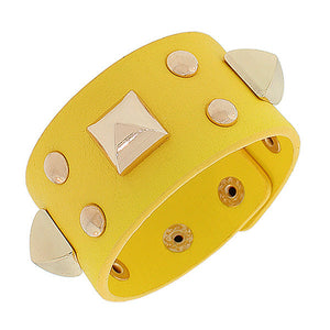 Fashion Alloy Yellow Faux PU Leather Rose Gold-Tone Spikes Wide Wristband Wrap Bracelet