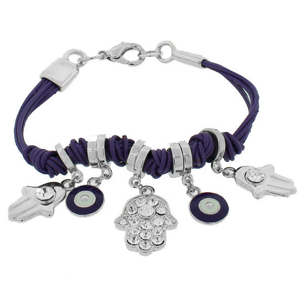 Fashion Alloy White CZ Violet Purple Silver-Tone Evil Eye Hamsa Bracelet
