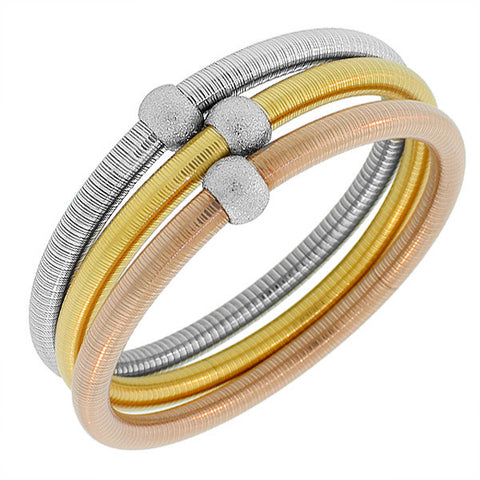 Stainless Steel Silver-Tone and Gold-Tone Three Stackable Bangles Bracelets Set