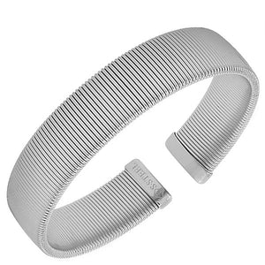 Stainless Steel Silver-Tone Mesh Cable Open End Bangle Bracelet