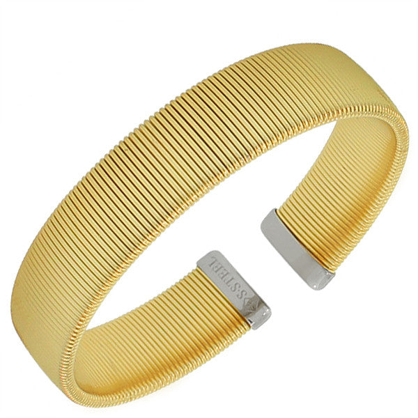 Stainless Steel Two-Tone Mesh Cable Open End Bangle Bracelet