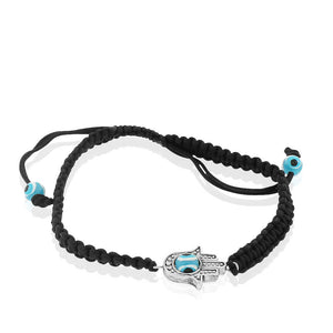 Fashion Alloy Black Cord Hamsa Evil Eye Protection Macrame Adjustable Bracelet
