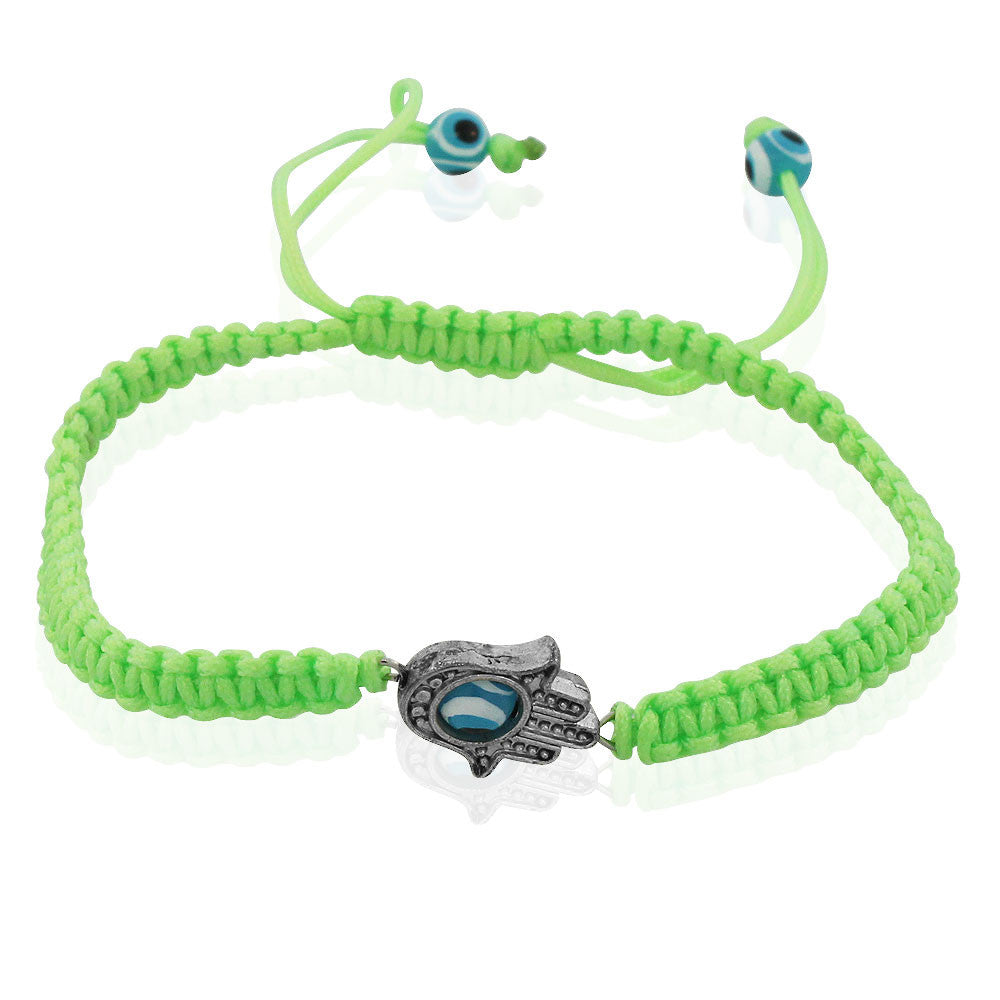 Fashion Alloy Neon Green Cord Hamsa Evil Eye Protection Macrame Adjustable Bracelet
