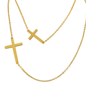 Stainless Steel Yellow Gold-Tone Long Double Chain Two Sideways Cross Pendant Necklace