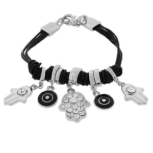 Fashion Alloy White CZ Silver-Tone Black Cord Evil Eye Hamsa Bracelet
