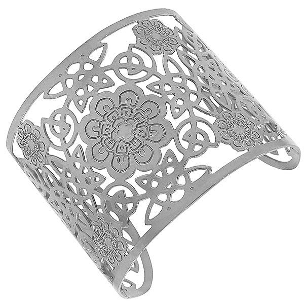 Stainless Steel Silver-Tone Cut-Out Design Wide Open End Cuff Bangle Bracelet