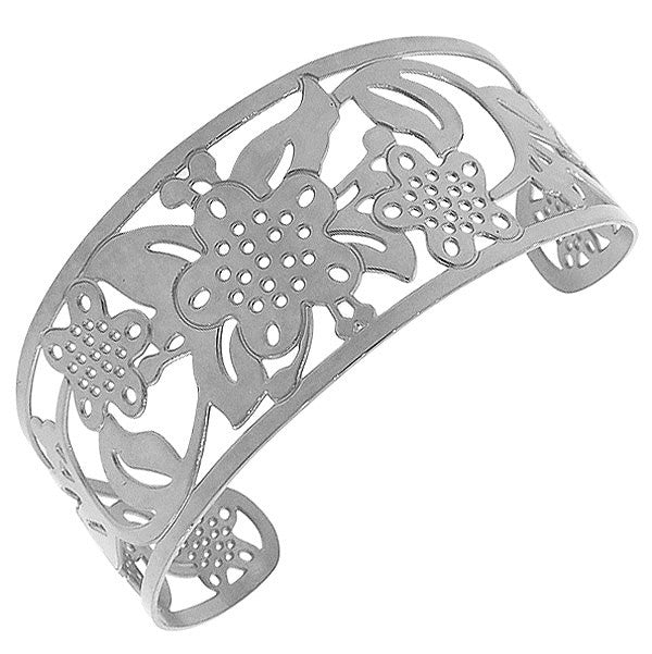 Stainless Steel Silver-Tone Cut-Out Floral Design Wide Open End Cuff Bangle Bracelet