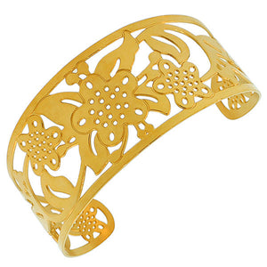 Stainless Steel Yellow Gold-Tone Cut-Out Floral Design Wide Open End Cuff Bangle Bracelet