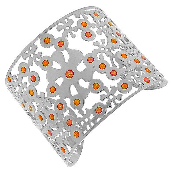 Stainless Steel Silver-Tone Cut-Out Floral Multicolor Design Wide Open End Cuff Bangle Bracelet