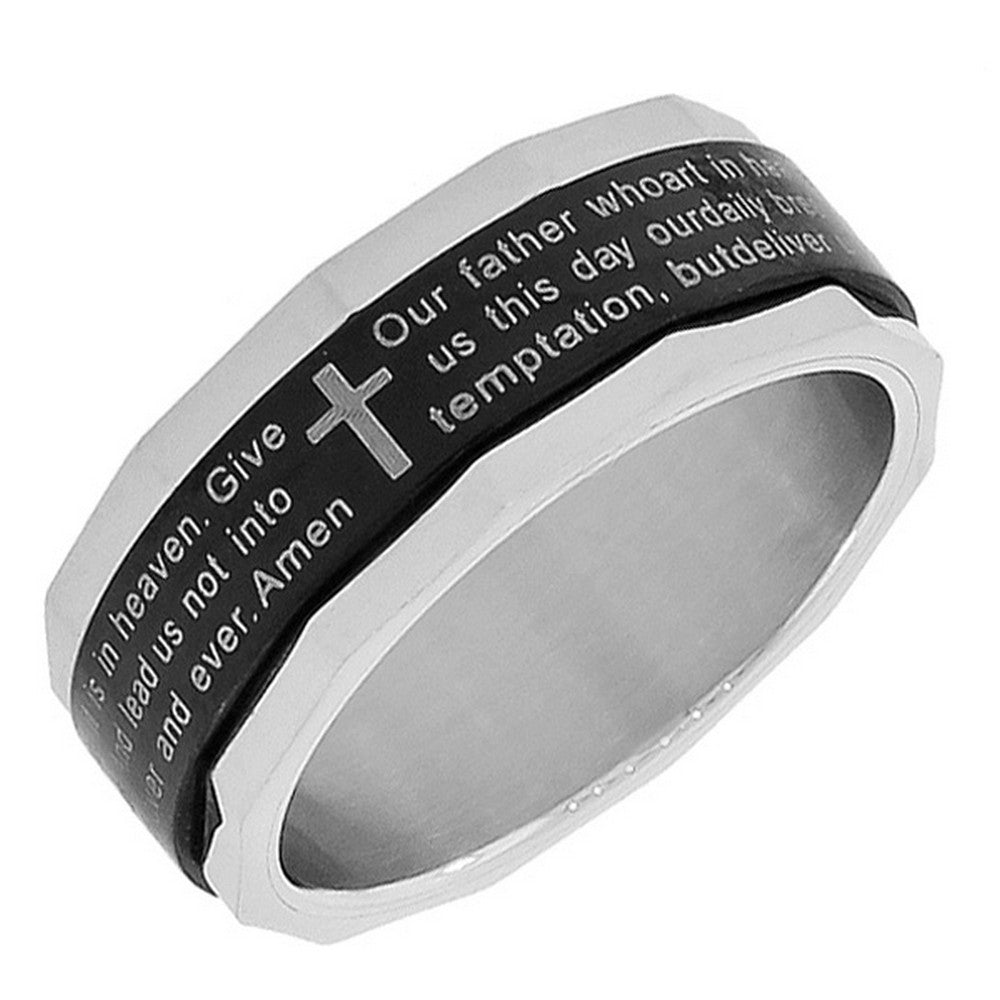 Stainless Steel Black Silver-Tone Lords Our Father Prayer English Spinner Ring Band - Size 13