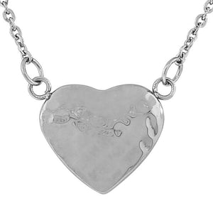 Stainless Steel Silver-Tone Hammered Finish Love Heart Pendant Necklace