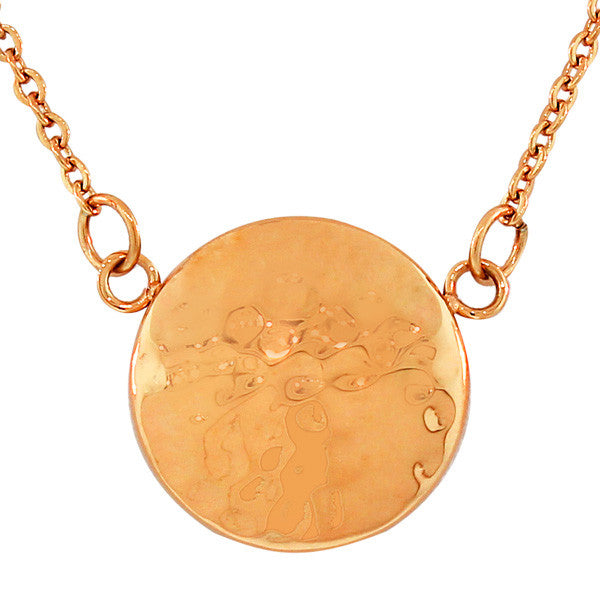 Stainless Steel Rose Gold-Tone Hammered Finish Round Circle Pendant Necklace