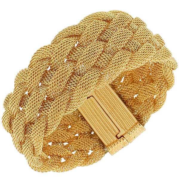 Fashion Alloy Yellow Gold-Tone Wide Mesh Braided Bracelet