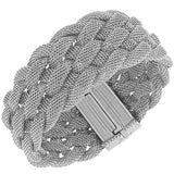 Fashion Alloy Silver-Tone Wide Mesh Braided Bracelet