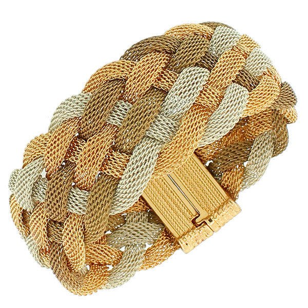 Fashion Alloy Gold-Tone Multicolor Wide Mesh Braided Bracelet
