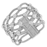 Fashion Alloy Silver-Tone Wide Large Multi-Row Mesh Bracelet