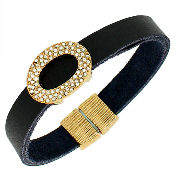 Fashion Alloy Black Leather Yellow Gold-Tone White CZ Wristband Wrap Bracelet