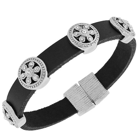 Fashion Alloy Black Leather Silver-Tone White CZ Wristband Wrap Bracelet