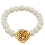 Fashion Alloy White Simulated Pearls Gold-Tone Flowers Floral Design Stretch Bracelet