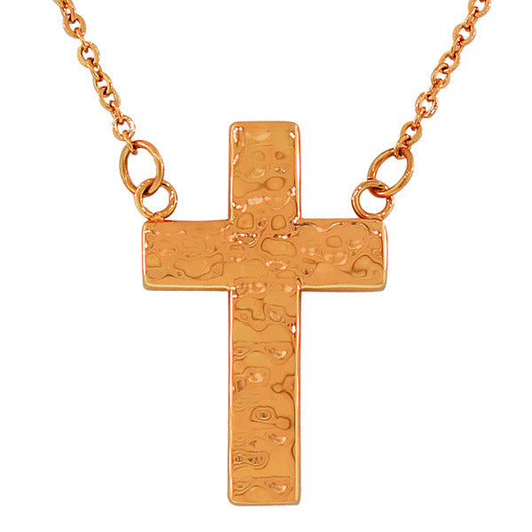 Stainless steel rose gold tone hammered finish cross pendant hammered rose cross aloadofball Image collections