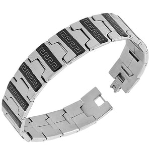 Stainless Steel Black Silver-Tone Greek Key Men's Links Chain Bracelet