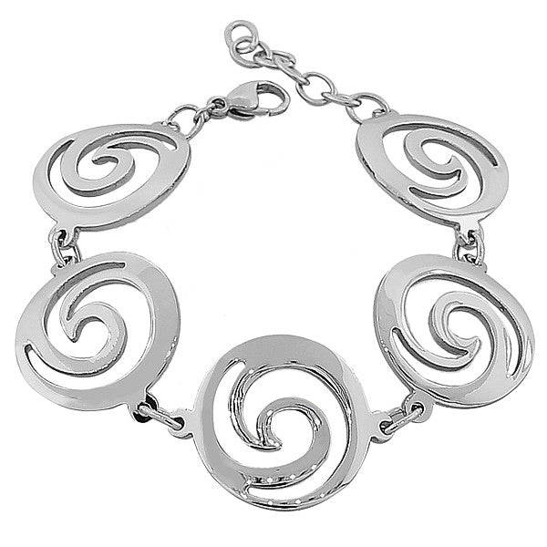 Stainless Steel Silver-Tone Circles Link Adjustable Bracelet