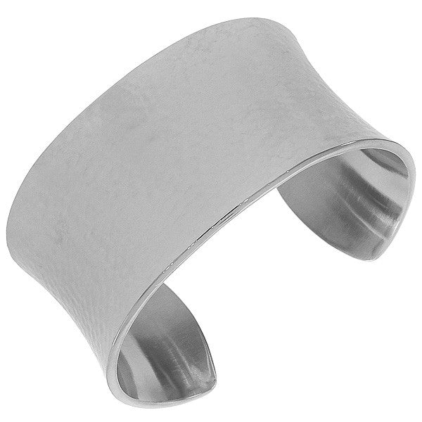 Stainless Steel Silver-Tone Hammered Finish Large Heavy Bangle Bracelet