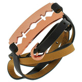 Fashion Alloy Black Leather Rose Gold-Tone Razor Blade Multi-Wrap Wristband Bracelet