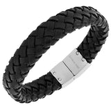 Stainless Steel Black Leather Silver-Tone Braided Wristband Men's Bracelet