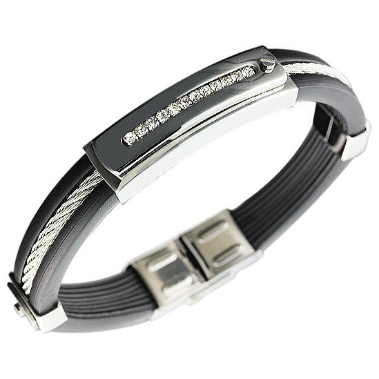 Stainless Steel Black Rubber Silicone Silver-Tone White CZ Men's Bracelet