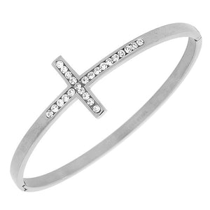 Stainless Steel Silver-Tone Classic Religious Cross White CZ Bangle Bracelet